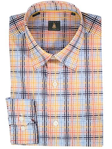 Robert Talbott Tangerine with Plaid Check Design Cotton Classic Fit Anderson Sport Shirt Medium