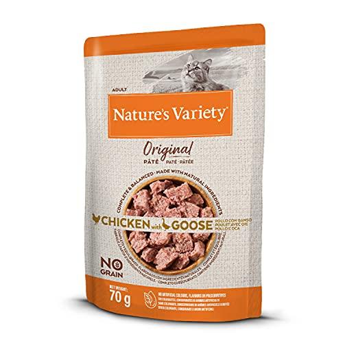 Nature's Variety Original No Grain - Paté para Gatos Adultos con Pollo con Ganso - Caja 12 x 70 g