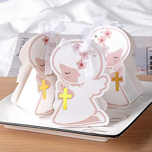 50pcs Cajas de Caramelos Dulces Bombones de Papel Detalles Bautizo Comunión Boda Fiesta Regalo Recuerdos de Invitados Decoración Forma Ángel