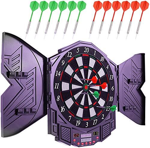 High End LED Elektronische Dartscheibe - Dart Scheibe E Dartboards Dartautomat mit 12 Dartpfeile - 27 Spielen und 216 Varianten für 8 Players (Violett)