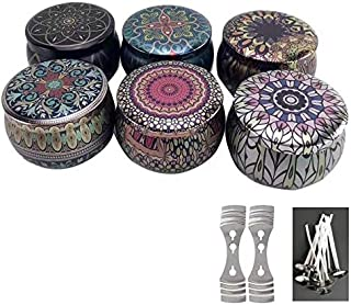 6 Pcs DIY Candle Tin Jars, Candle Making Kits Metal Containers Reusable European Style Candle Holder Storage Case for Home...