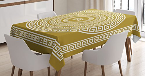 Ambesonne Greek Key Tablecloth, Frieze with Vintage Ornament Meander Pattern from Greece Retro Twist Lines, Rectangular Table Cover for Dining Room Kitchen Decor, 60' X 90', Amber White