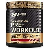 Optimum Nutrition ON Gold Standard Pre Workout en Poudre, Energy Drink avec Créatine Monohydratée, Caféine et Vitamine B Complex, Saveur Cocktail de Fruits, 30 Portions, 330g, l'Emballage Peut Varier