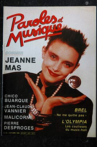 Paroles & Musique 63 * 1986 10 * Dossier JEANNE MAS BREL BUARQUE VANNIER MALICORNE DESPROGES