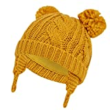 ASUGOS Baby Winter Hats Girls Boys Cold Weather Beanie Infant Toddler Cable Knit Caps Cotton Jersey Lined with 2 Pom Pom Cute Ear Flap Hat (Yellow, 12-24 Months)