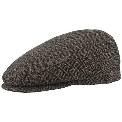 Herren Winter Schiebermütze mit Ohrenklappen | Flatcap | Schirmmütze – aus 100% Wolle im Fischgrat Design – mit ausklappbarem Ohrenschutz - Hautfreundlich & Bequem, 60, Grau
