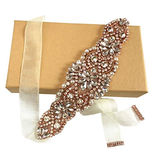 ZIUMUDY Bridal Rhinestone Belts Handmade Clear Crystal Sashes Wedding Belts For Evening Gowns (Rose Gold-ivory organza)