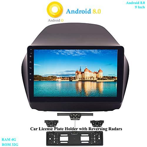 XISEDO 9 Zoll Android 8.0 Autoradio Car Radio In-Dash 8-Core RAM 4G ROM 32G Autonavigation Car Radio für Hyundai IX35 (2010-2014) (mit Kfz-Nummernrahmen mit Rückfahrradar)