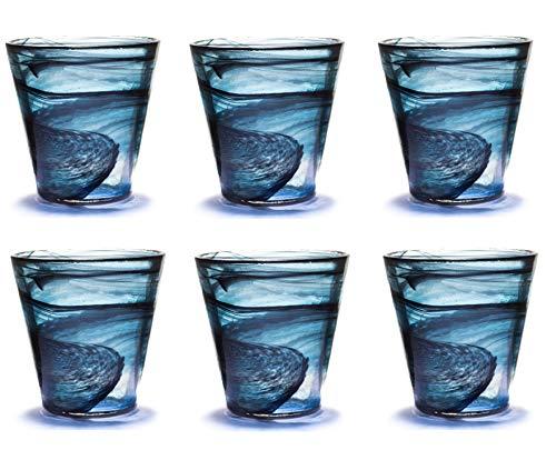 Pami Bicchieri Acqua Colorati Vetro, Bicchieri Vino, Bicchieri Colorati, Bicchieri Cocktail, Bicchieri Aperitivo, Bicchieri Vetro, Set 6 Tumbler Alabaster (NEROBLUE)