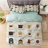 Aishare Store - Juego de funda de edredón para cama (tamaño King, café), diseño de café y café con leche, estampado de 3 piezas, reversible, 2 fundas de almohada ultra suave con cierre de cremallera