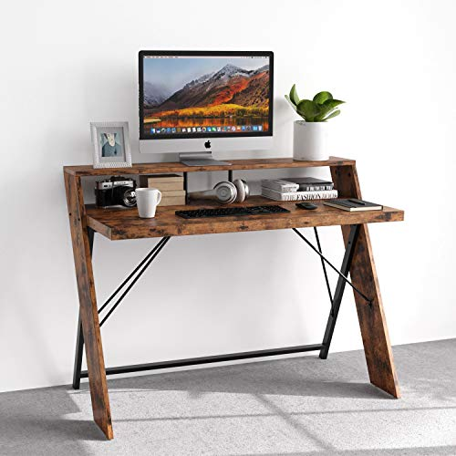 "IRONCK Industrial Computer Desk 47"", Office Desk with Shelf, with Thicker Tabletop and Diagonal Wood Legs, Studying Writing Table for Home Office"