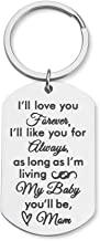 Daughter Son Gifts Keychain to from Mom Dad- Birthday Christmas Day Present Encouragement Keyring to Teen Girls- I Will Love You Forever -Family Pendant Charm Wedding