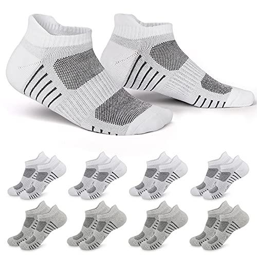 EKSHER Calcetines Tobilleros Hombre Mujer 8 Pares Calcetines deportivos de algodón Blanco Gris_35-38