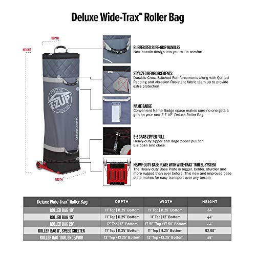E-Z UP Inc. D3RB10GY E-Z UP Deluxe Wide-Trax, fits 10' x 10' Canopy Pop-Up Tent Shelter Roller Bag, 10', Black and Gray