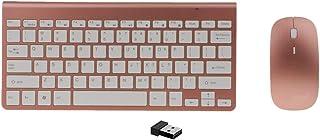 لوحة مفاتيح وماوس لاسلكي ميني يو اس ابي من روبيك، لوحة مفاتيح متحركة رقيقة للغاية 2.4 جيجاهيرتز للكمبيوتر واللابتوب والتاب...