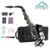 EastRock Alto Saxophone for Students Beginner Black Laquer Nickel Key E Flat with Hard Case,Mouthpiece,Mouthpiece Cushion Pads,Cleaning Cloth&Cleaning Rod,White Gloves,Alcohol Pads,Strap