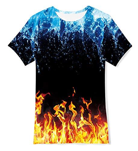 TUONROAD Mädchen Jungen Kurzarm T-Shirt Teenager Flamme 3D Sommer Strand T-Shirt 10-12 Jahre