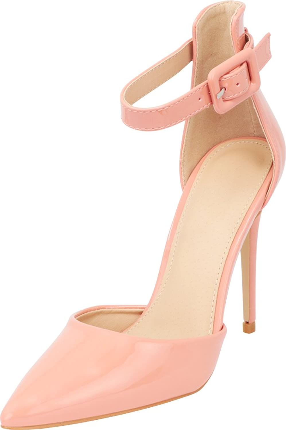 Cambridge Select Women's Closed Pointed Toe D'Orsay Buckled Ankle Strap Stiletto High Heel Pump