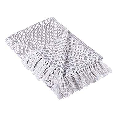 DII Rustic Farmhouse Cotton Diamond Blanket Throw with Fringe For Chair, Couch, Picnic, Camping, Beach, Everyday Use, 50 x 60 - Mini Diamond Gray
