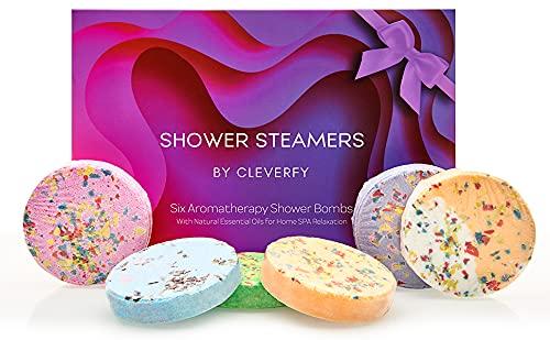 Cleverfy Aromatherapy Shower Steamers - Pack of 6 Shower Bombs. Purple Waves Set: Lavender, Cocoa & Orange, Bergamot & Mandarin. Pomegranate & Rose, Peony & Pear, Lemongrass & Coconut 40g