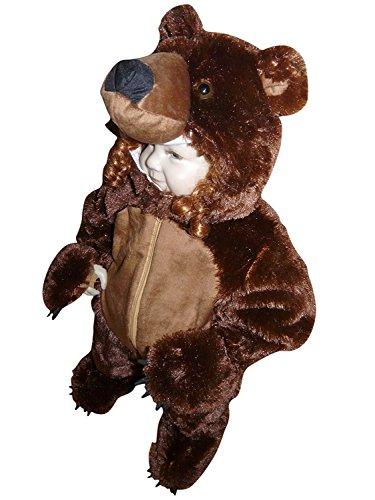 F67 Taglia 2-3A (92-98cm) Orso bruno Costume da orso bruno per bambini, indossabile comodamente sui vestiti normali