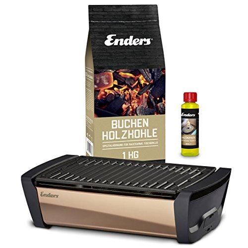 Enders Aurora Mirror Starterset Kupfer - Raucharmer Tischgrill im Set mit Holzkohle und Anzündpaste - mobiler Holzkohle-Grill, rauchfrei, mit Gussrost für Balkon, Picknick, Camping
