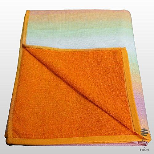 Toalla de playa grande 100% algodón, doble cara, color naranja