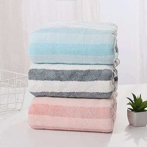 Zjcpow Juego de toallas de playa de 3 piezas de microfibra para hotel, spa, piscina, gimnasio, toalla de baño ligera, suave y absorbente (color: azul, gris, rosa, tamaño: 70 x 150 cm)
