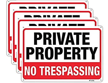 Large No Trespassing Signs Private Property Metal 10x14 Inch Rust Free Aluminum,UV Ink Printing,Durable/Weatherproof Up to 7 Years Outdoor for Home  4-Pack