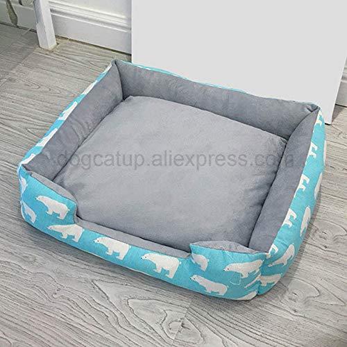 DFLLYS Zwinger Quadratisches Hundebett Haustiermatte Warmschlaf Zwinger Katzenstreu Sofa Haustiermatte tragbare Hundezubehör, Bear Blue, L.