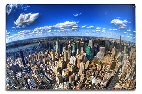 Lantern Press New York City - HDR Fisheye View of The Upper West Side of Manhattan A-9012814 (6x9 Aluminum Wall Sign, Wall Decor Ready to Hang)