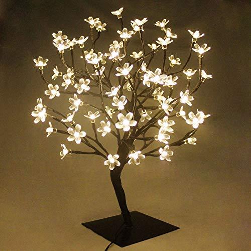 LED Cherry Blossom Bonsai Stylt Tree Lamp 45cm with 72 LED Warm White Fairy Lights, Stable Square Metal Base, Christmas Xmas Tree Lights