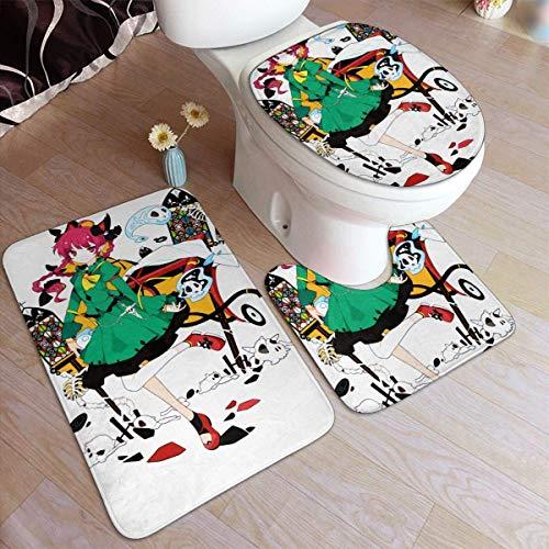 haoqianyanbaihuodian Touhou-Project - Alfombra de 3 piezas, antideslizante, para baño, antideslizante, para puerta de suelo, bañera