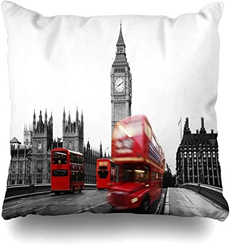 Throw Pillow Cover Bus Red Scene Puente de Westminster Fast Seen South Bank London Black Cityscape Big Ben Design Funda de Almohada para el hogar Funda de Almohada cuadrada18x18pulgada
