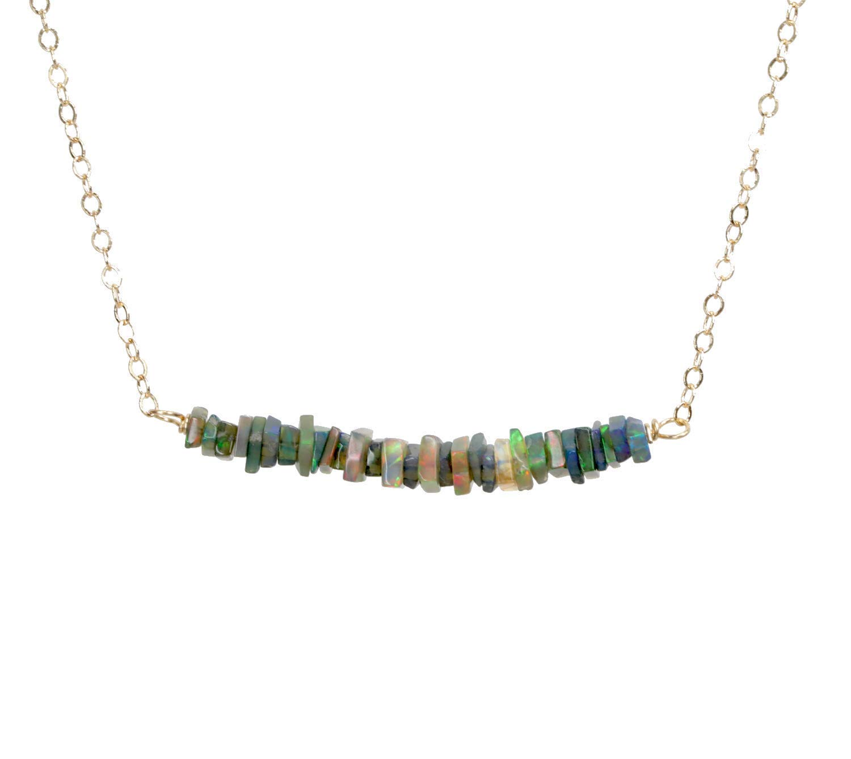 Real Black Recommendation Opal Gemstone Bar Credence Necklace- 14k Inche 17 Gold Filled-