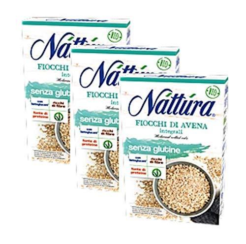 Nattura Fiocchi di Avena Integrali Senza Glutine Ricchi di Fibre Con Betaglucani Fonte di Proteine Vegan OK - 3 x 350 Grammi