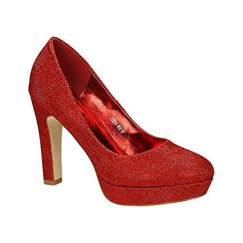 Klassische Damen Glitzer Pumps Stilettos High Heels Plateau Abend Schuhe Bequem 315 (38, Rot)