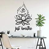 HGFDHG Calcomanía de Pared de Aliento Fresco Lotus Yoga relajación hindú SPA meditación Interior decoración de Interiores Vinilo Adhesivo para Ventana Papel Tapiz