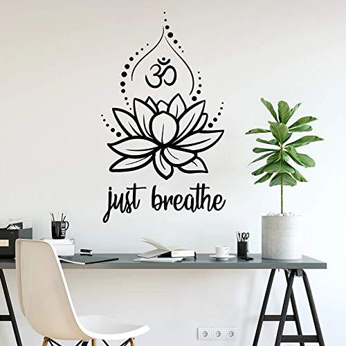 Just Breathe Mandala Lotus Flower Yoga Studio OM Namaste Logo Buda Meditación Zen Etiqueta de la pared Calcomanía de vinilo Dormitorio Sala de estar Studio Club Decoración para el hogar Mural