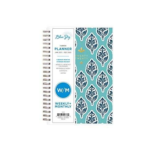 Blue Sky 2021 Weekly Monthly Planner Frosted Flexible Cover Twin-Wire Binding 5 x 8 Sullana 110570-21