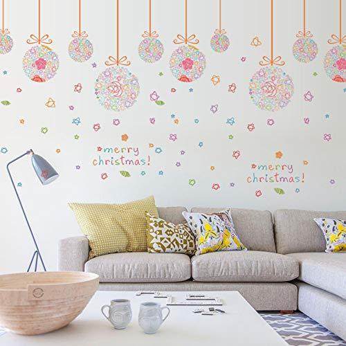 Fyyanm Colorful Hanging Balls Wall Stickers Negozio di palle di Natale Vetrofanie in vetro Decorazioni di Buon Natale Adesivo murale Poster