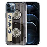 FINCIBO Clear Transparent TPU Soft Gel Skin Case Cover Compatible with Apple iPhone 12 Pro Max 6.7 inch 2020 - Retro Clear Cassette Tape Hip Hop