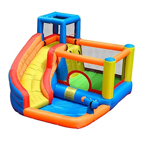 AJH Castillo hinchable para interiores, caja fuerte electrónica con escalera deslizante media, juguete de diversión para el hogar