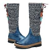 Socofy Botas Altas de Mujer hasta la Rodilla en Cuero Genuino Zapatos de Invierno tacón bajo Calzado Botas de Montar de Mujer Botas Planas Botas largas cálidas de Invierno