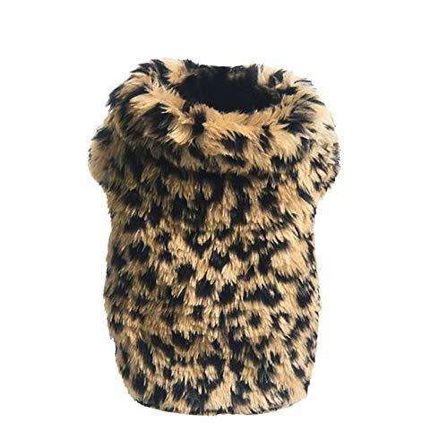 Kleine Haustier Hund Leopard Pullover Soft Sweatshirt Sweater für Teddy Mops Bulldogge (M,Braun)