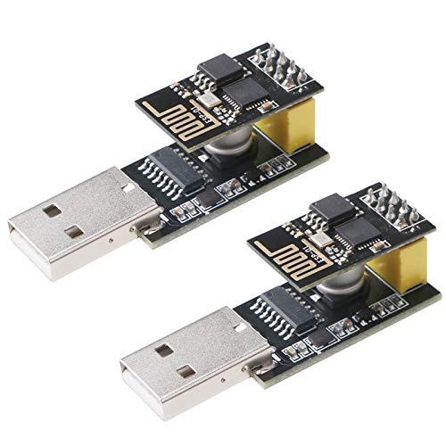 2 unidades ESP8266 ESP-01 Serial Wireless Transceptor WiFi Módulo 1MB SPI Flash DC3.0-3.6V con 2pcs USB a ESP8266 ESP-01 adaptador inalámbrico microcontrolador de comunicación para Arduino