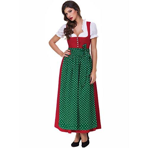 Almbock Dirndl Lang Lea rot mit grüner Schürze in Gr. 36 38 40 42 44 46 - festliches Trachten-Kleid, Rock-Länge 95cm