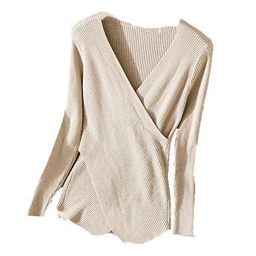 N\P Mujer Otoño Invierno Cuello en V Cruz Slim Mujer T-Shirt Suéter
