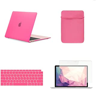 TOP CASE MacBook Air 13 Inch Case A1932 with Retina Display fits Touch ID 2019 2018 Release, 4 in 1 Essential Bundle Rubberized Hard Case, Keyboard Cover, Sleeve, Screen Protector - Hot Pink