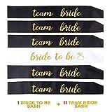 Losuya 11 Schwarze Team Braut Schärpen mit 1 weißen Braut Sash Set für Hochzeit, Junggesellinnenabschied und Bridal Shower Party Dekorationen Gunst